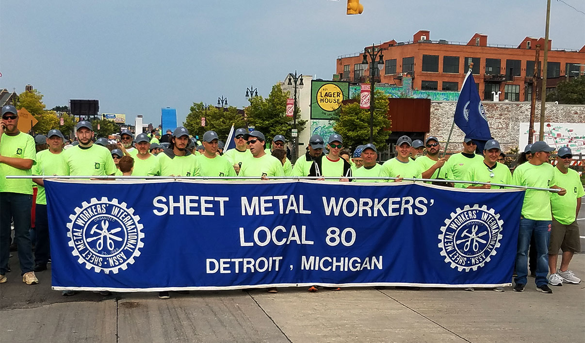 Sheet Metal Workers' Local 80 Marching with Detroit, Michigan Banner